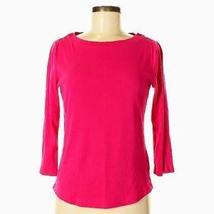 Jones New York Pink Scoop Neck 3/4 Sleeve T Shirt